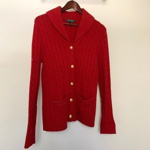 Ralph Lauren Red Cable Wool Gold Button Cardigan
